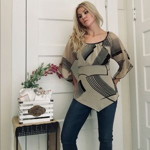 """Tan and Black Patterned Blouse by """"Caren Sport"""""""
